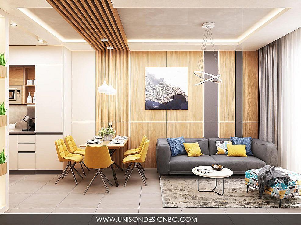 Интериорен дизайн на двустаен апартамент HILL SIDE