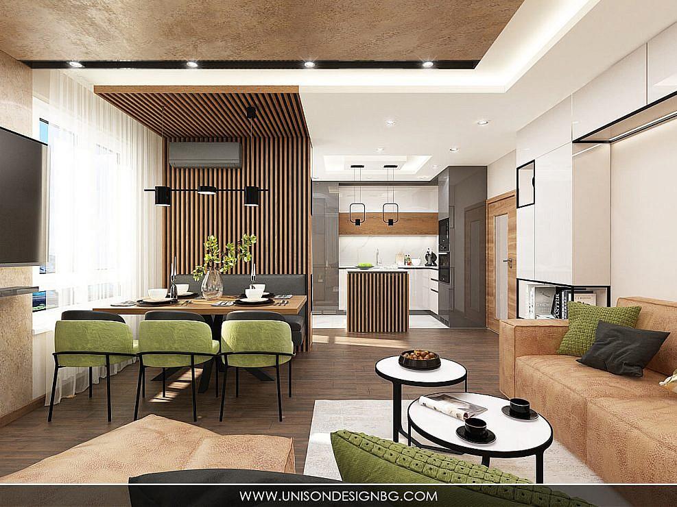 Интериорен дизайн на двустаен апартамент в кв. Мусагеница